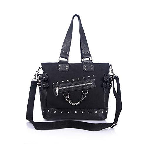 - Women Fashion Rivet Handbag Purse Canvas Punk Tote with Shoulder Strap Crossbody Bag Large Capacity Black (Black)