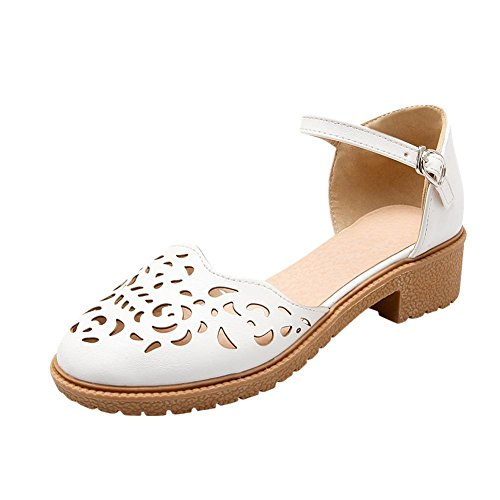 Mee Shoes Womens Date Block-heel Hollow Mary Jane Shoes White