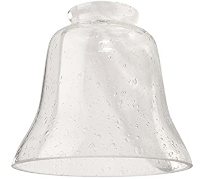 "Ellington 391 Bell Shaped Ceiling Fan Glass Shade with 2 1/4"" Neck, Clear/Seeded"