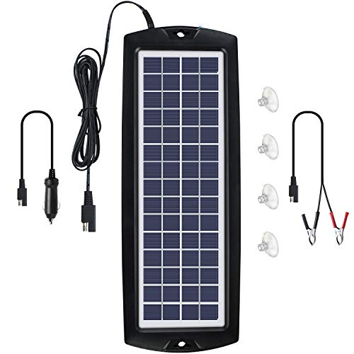 Sunway Solar Car Battery Trickle Charger & Maintainer 12V Solar Panel Power Kit Portable Backup for Car Automotive RV Marine Boat Motorcycle Truck Trailer Tractor Powersports Snowmobile Farm Equipment