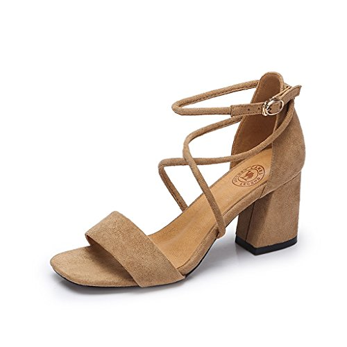 Heels Brown Sandals Thick Female Sandals Female Open Strappy Toed Elegant qEvaYU