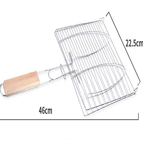 CAROLA Stainless Steel Grilled Fish Roast Hamburg BBQ Tongs hot Insulation Silicone Handle Tong Rotating BBQ Tool Silver by CAROLA