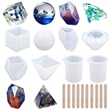 EuTengHao 18Pcs DIY Silicone Resin Casting Molds Tools Set Includes 6 Resin Casting Molds Large Clear Silicone Molds 2 Measurement Cup 10 Wood Sticks for DIY Home Decoration