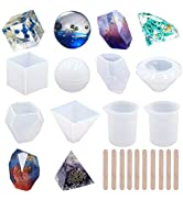 EuTengHao 18Pcs DIY Silicone Resin Casting Molds Tools Set Includes 6 Resin Casting Molds Large C...