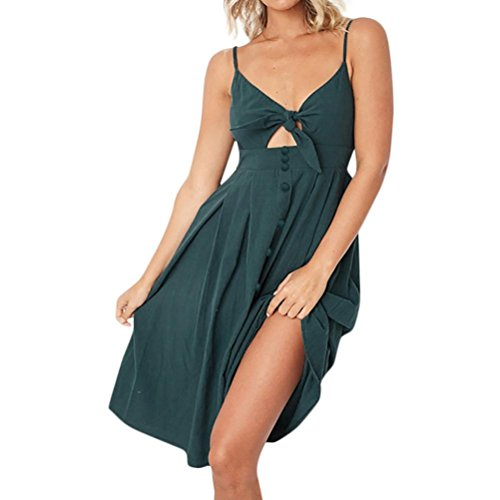 Clearance Sale! Wintialy Womens Holiday Bowknot Lace up Ladies Summer Beach Buttons Party Dress