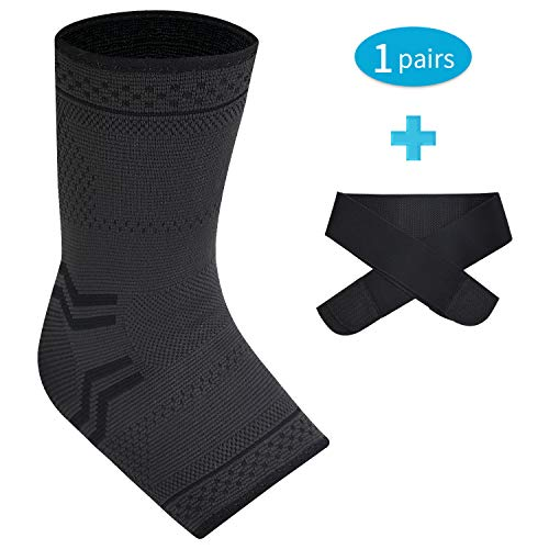 SWOLF 1 Pair Ankle Brace Compression Sleeves for Men Women, Plantar Fasciitis Arch Support Foot Compression Socks with Ankle Brace Strap Relief Arch Pain, Reduce Swelling, Eases Achilles Tendonitis