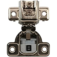 Salice Silentia Silver-tone Metal 1.25-inch Overlay 106-degree Soft-close Screw-on Face Frame Hinge