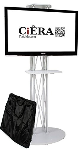 CiERA EZ Fold All-In-One Portable TV Stand with Padded Carrying Case and Shelf for 28-70 Inch TV's - Silver