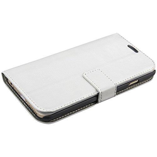 eFabrik Schutz Tasche für Apple iPhone 6 ( 4.7 Zoll ) Hülle Smartphone Zubehör Aufsteller Innenfächer Bookstyle Handy Case Wallet Kunstleder Weiß