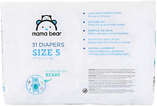 Large Product Image of Amazon Brand - Mama Bear Diapers Size 5, 124 Count, Bears Print (4 packs of 31)