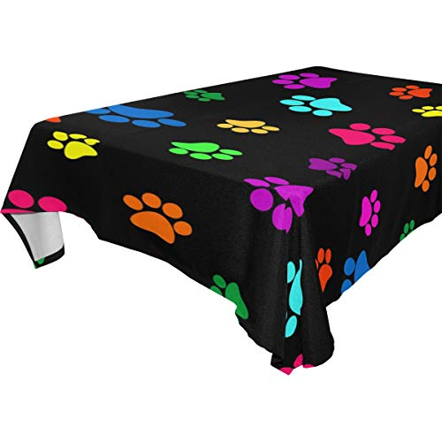 Natures Banquet Best Blend - Double Joy Modern Rectangle Square Tablecloth 60x120 Inches Colorful Paws Cover for Dinners Parties Banquet or Picnic