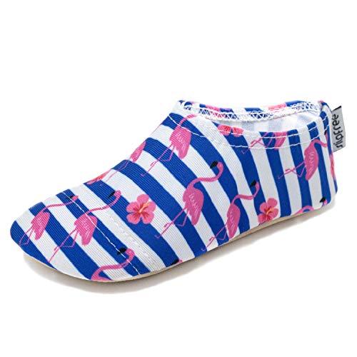 Slipfree – Girls Non-Slip UPF50+ Barefoot Swim, Water Shoes for Beach, Pool and Home. Stripe. Large