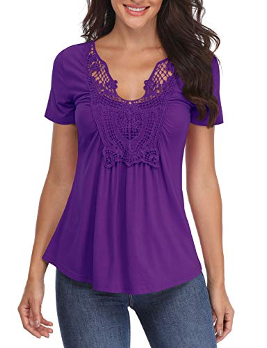 Blouse Front Ruched - MISS MOLY Peasant Blouses Women's Peasant Tops Deep V Neck Shirts Peplum Tops Women Ruched Front Sexy Summer Tee Purple
