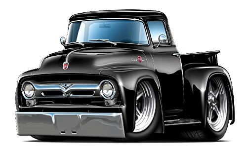 1956 F100 Hot Rod Truck WALL DECAL 2ft long Car Sport Classic Vintage Graphic Sticker Photo Man Cave Garage Boys Bedroom - Gents Photo Hot
