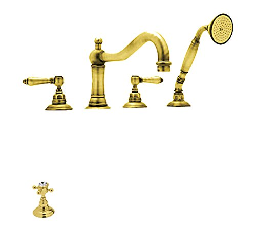 Rohl A1404XCIB Country Bath Roman Tub Faucet with Single Function Hand Shower, Inca Brass - Inca Brass Single