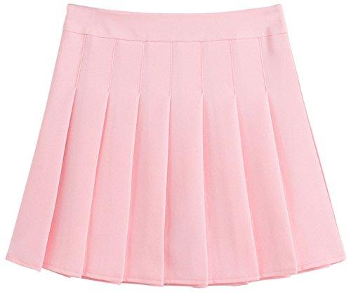 chouyatou Women's Simple High Waist All Around Pleated A-Line Skirt (Medium, Pink) -