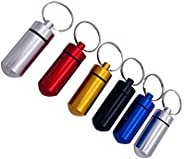 6pcs Waterproof Aluminum Pill Box Case Bottle Cache Drug Holder Keychain Container Outdoor Medicine Bottle Key