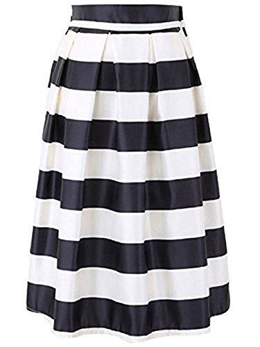 Black Satin Pleated Mini Skirt - FACE N FACE Women's High Elastic Waist Flare Pleated A Line Midi Skirt Large Black and White