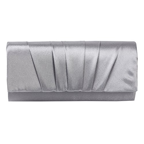 Damara Womens Satin Pleated Clutch Bag Wedding Bridal Prom Evening Handbag,Silver, Large
