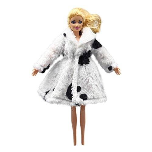 Doll Accessories,Showking Fashion Fur Winter Warm Coat Flannel Outfit Doll Accessories For Barbie Doll (White) Doll Wardrobe Pattern