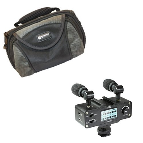 Canon VIXIA HF20 Camcorder External Microphone Vidpro XM-AD5 Mini Pre-Amp Smart Mixer with Dual Condenser Microphones for DSLR's, Video Cameras and Phones, With SDC-26 Case by Synergy Digital
