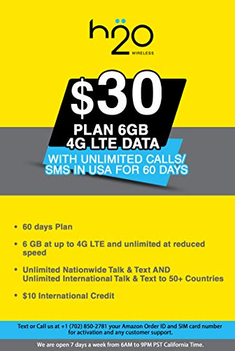 USA Prepaid SIM Card H20 $30 Plan 6GB 4G LTE Data with Unlimited Calls/SMS in USA for 60 Days (Best Prepaid Phone Plans With Unlimited Data)
