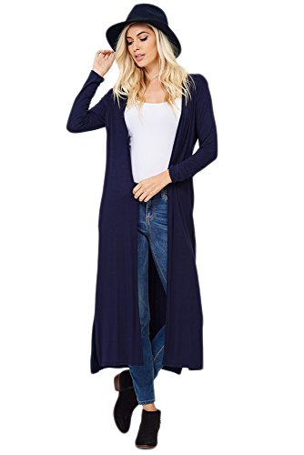 Annabelle Women's Comfy Long Sleeve Open Front Side Slit Dus