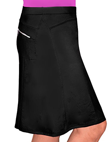 Kosher Casual Women's To The Knee Length Running Skirt With Built In Shorts Small Black