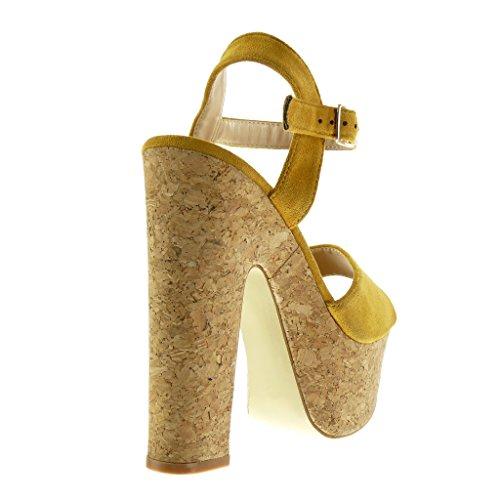 Angkorly - Zapatillas de Moda Sandalias Correa de tobillo zapatillas de plataforma mujer corcho Talón Tacón ancho alto 15 CM - Amarillez