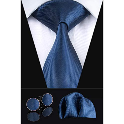 Dubulle Mens Solid Tie Pocket Square Cufflinks Woven Silk Necktie Set for Business Wedding (Dark Blue)