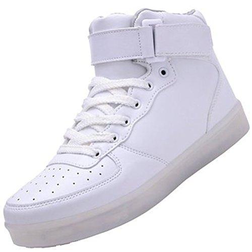 [Presente:pequeña toalla]JUNGLEST (TM) Unisex 7 Colors USB Carga LED Luz Luminosas Flash Zapatos Zapatillas de Depo c11