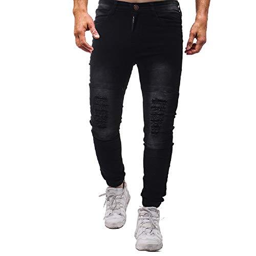 sólido Moda Jeans de Pantalones Color Pantalones Hombres de de Vaqueros Negro Oudan los Ajustados qIBxYdSB