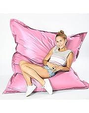 Green Bean © SQUARE XXL Reuze zitzak 140x180 cm - 380L vulling - afneembare hoes, vlekbestendig, wasbaar - Binnen & Buiten - Gaming Bean Bag Lounge Chair - Kinderen & Volwassenen - Roze