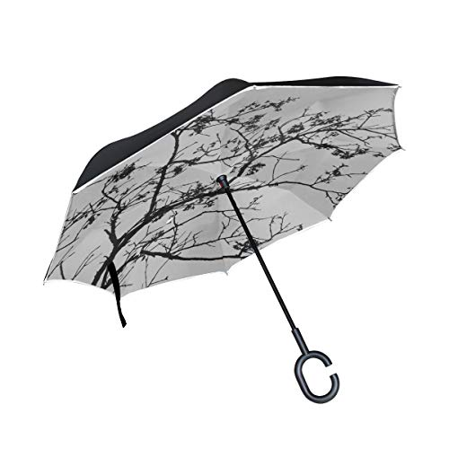 KUneh Double Layer Inverted Tree Shadow Black Ink China Art Umbrellas Reverse Folding Umbrella Windproof Uv Protection Big Straight Umbrella for Car Rain Outdoor with C-Shaped Handle (Best Sushi In Tsukiji)