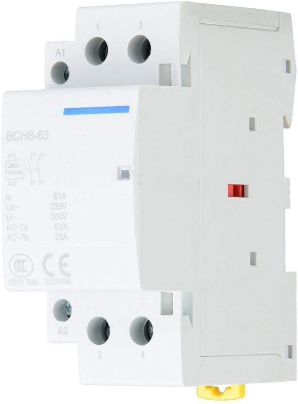 Contactor de CA para el hogar, 2P 63A 24V 220V / 230V 50 / 60Hz Contactor de CA para el hogar 2 polos Montaje en riel DIN 1NO 1NC Contactor de CA de repuesto (220V/230V)