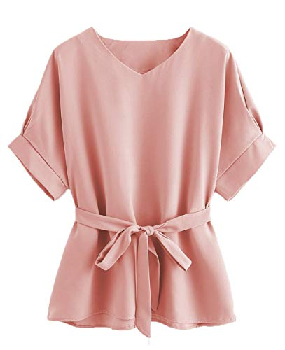 Milumia Women's V Neckline Self Tie Short Sleeve Oversize Blouse Tunic Tops Pink X-Large (Pink Blush Clothing)