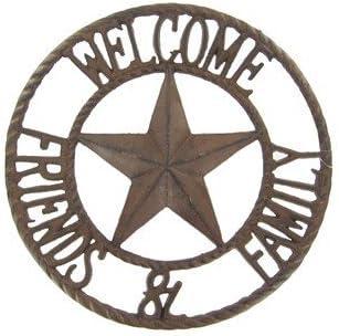 /Innen- oder Au/ßeneinsa /Old Country Western Design/ Tante Chris Produkte/ /Kreis mit A STAR in der Mitte/ /Schwere rund gro/ß aus Gusseisen ~ Willkommen Freunde und Familie Schild/