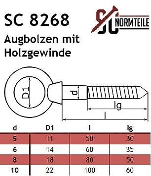 SC-Normteile/® Augbolzen mit Holzgewinde 5 x 50 mm - 5 St/ück - Ringschraube//Augenbolzen aus Edelstahl A4 V4A SC8268