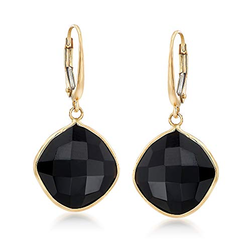 Ross-Simons 14mm Black Onyx Drop Earrings in 14kt Yellow Gold by Ross-Simons (Image #4)