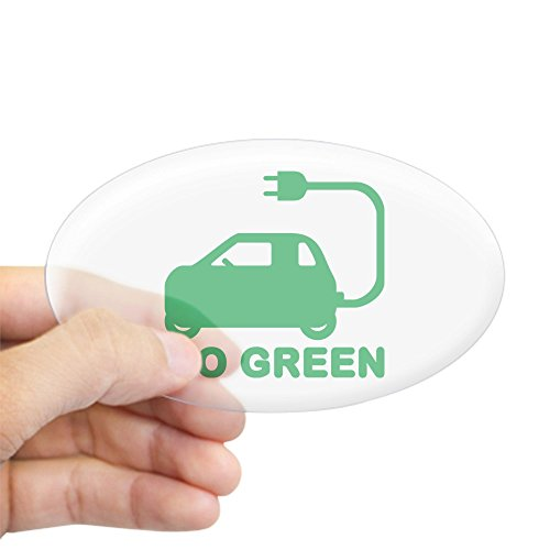 CafePress Go Green ~ Drive Electric Cars Sticker Oval Bumper Sticker, Euro Oval Car Decal