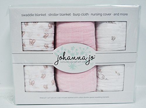 Baby Swaddle Blanket Pack of 3 {Pink, Butterfly, and Bunny}