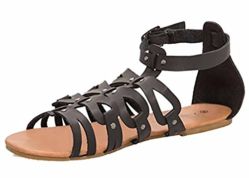 Free Reign Women's Strappy Ankle Cuff Gladiator Vegan Leather Ankle Height Sandal (Wide Width) (11W, Black/Black)