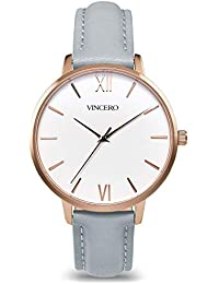 Luxury Women's Eros Wrist Watch — Rose Gold + White dial with a Fog Leather Watch Band — 38mm Analog Watch — Japanese...
