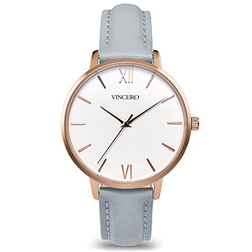 Vincero Luxury Women's Eros Wrist Watch — Rose Gold + White dial with a Fog Leather Watch Band — 38mm Analog Watch — Japanese Quartz Movement