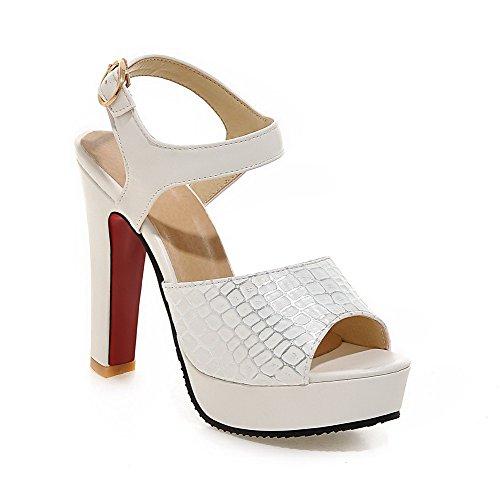 AllhqFashion Women's Soft Material Buckle Open Toe High-Heels Checkered Sandals White y1OKfylpZ