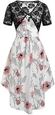 Vestido Floral de Encaje de Dos Piezas con Cuello en V y Estampado ...