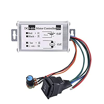DC Motor Speed Controller,Hima Brush Motor Driver Controls Module DC 9V-60V 12V 24V 36V 48V 60V Motor Pulse Width Modulator Regulator 20A 1200W PWM Monitor Dimmer Governor with Switch & Knob