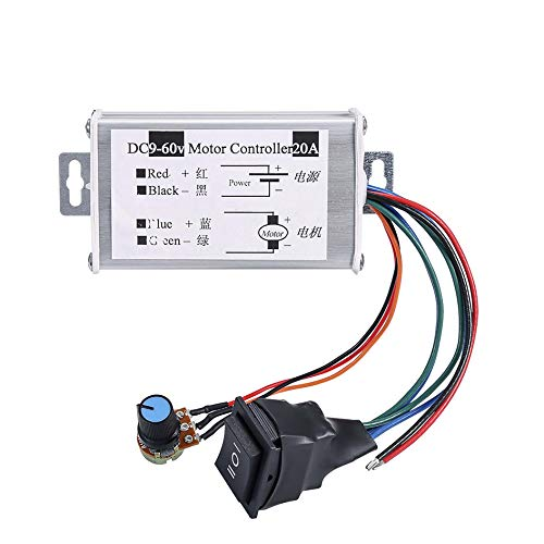 DC Motor Speed Controller,Hima Brush Motor Driver Controls Module DC 9V-60V 12V 24V 36V 48V 60V Motor Pulse Width Modulator Regulator 20A 1200W PWM Monitor Dimmer Governor with Switch & Knob ()