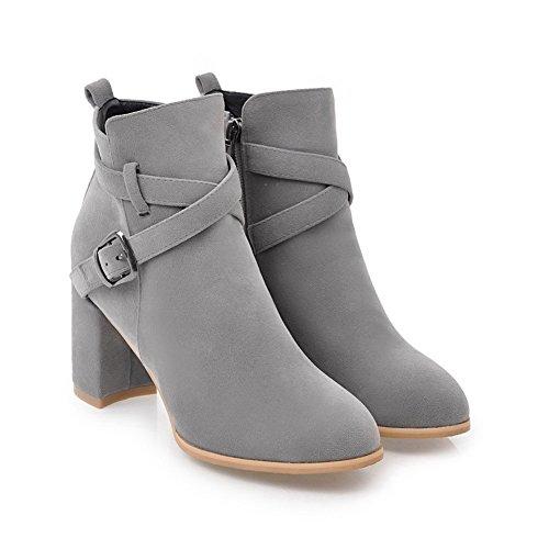 Closure Urethane BalaMasa Chunky Gray Solid Boots No Boots Womens Heels Zqqf0wE