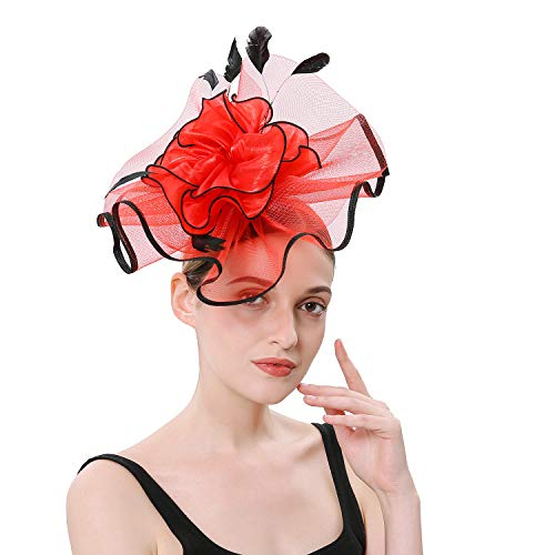 LATIMOON Fascinator Hat Flower Feather Net Mesh Veil Kentucky Derby Tea Party Wedding Hat with Clip and Hairband for Women - Red+Black